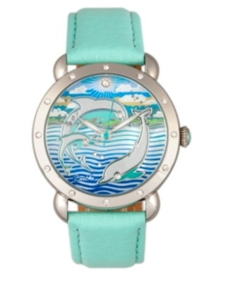 Bertha Quartz Estella Collection Silver And Turquoise Leather Watch 38Mm