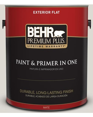 BEHR Premium Plus 1 gal. #GR-W11 Silver Ash Flat Exterior Paint and Primer in One