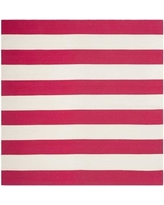 Beachcrest Home Brookvale Hand-Woven Cotton Pink/White Area Rug BCHH8041 Rug Size: Square 6'