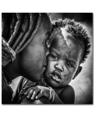 "Trademark Fine Art 'Kiss From Beautiful Himba Mom' Photographic Print on Wrapped Canvas 1X02976-C Size: 35"" H x 35"" W"