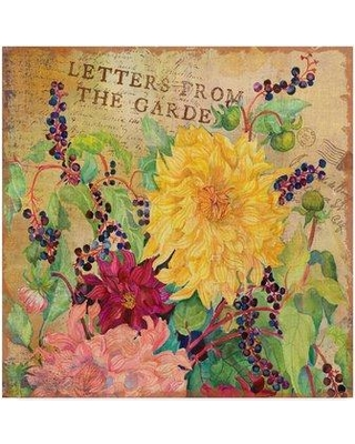 """Trademark Art 'Letters from the Garden' Acrylic Painting Print on Wrapped Canvas ALI30372-CGG Size: 18"""" H x 18"""" W x 2"""" D"""