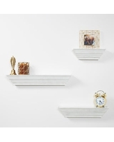 Everly Hart Collection Traditional Distressed White 3 Piece Floating Ledge Shelf Set Wall Shelves,