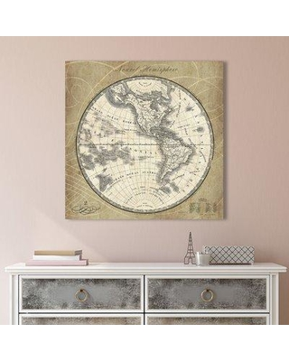 """Alcott Hill 'French World Map I' Graphic Art Print on Wrapped Canvas ACOT6788 Size: 36"""" H x 36"""" W"""