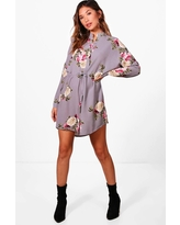 Womens Floral Shirt Dress - Grey - 8