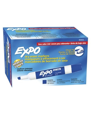Expo® Low Odor Dry Erase Markers, Chisel Tip, Blue, 12 Count