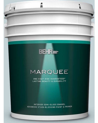 BEHR MARQUEE 5 gal. #PPL-73 Tranquil Sea Semi-Gloss Enamel Interior Paint and Primer in One