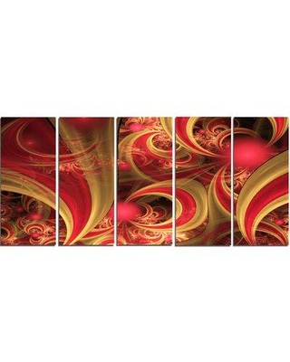 """Design Art 'Pink Symmetrical Fractal Pattern' Graphic Art Print Multi-Piece Image on Canvas, Canvas & Fabric in Red/Brown, Size Medium 25""""-32"""""""