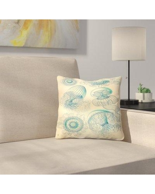 "East Urban Home Haeckel Plate Throw Pillow ETHF3005 Size: 14"" x 14"""