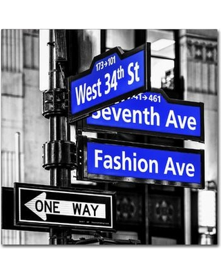 """Latitude Run NYC Signs Photographic Print on Wrapped Canvas in Blue MUSO9254 Size: 18"""" H x 18"""" W x 2"""" D"""