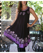 Ananda's Collection Women's Casual Dresses Purple - Purple Tie-Dye Floral-Embroidered Shift Dress - Women