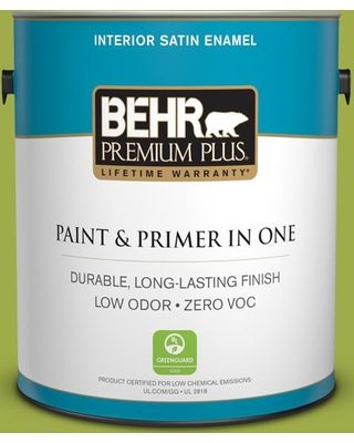 BEHR PREMIUM PLUS 1 gal. #PPU10-05 Intoxication Satin Enamel Low Odor Interior Paint and Primer in One