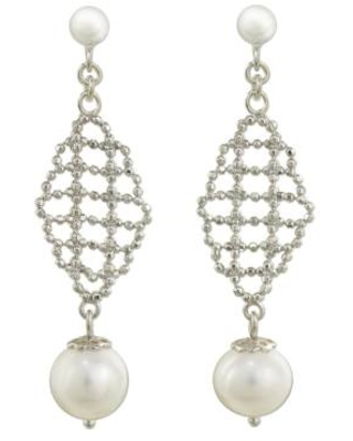 White Pearls on Artisan Crafted 925 Sterling Silver Earrings