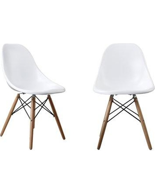 AttractionDesignHome Modern Designer Plastic Dinning Side Chair CH102 Color: White