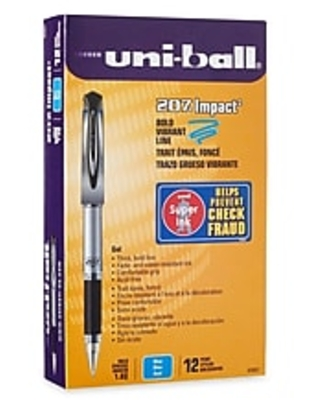 uni-ball 207 Impact Gel Pens, Bold Point, Blue Ink, 12/Pack (65801)