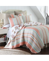 Brighton Coral Reversible Quilt Set, Orange