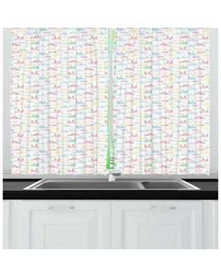 Marine Colorful Outline Nautical Themed Various Vehicles Kitchen Curtain East Urban Home