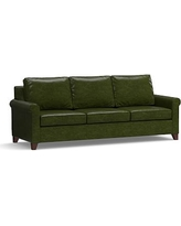 "Cameron Roll Arm Leather Grand Sofa 100"", Polyester Wrapped Cushions, Leather Legacy Forest Green"