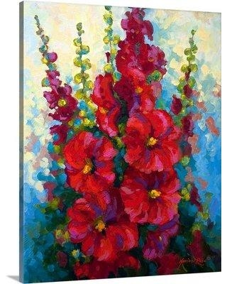 """Great Big Canvas New Hollyhocks by Marion Rose Painting Print on Wrapped Canvas 1156540_ Size: 20"""" H x 16"""" W x 1.5"""" D"""