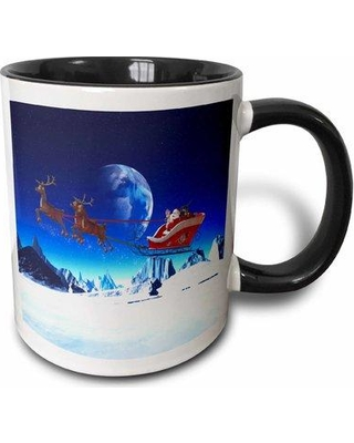 The Holiday Aisle Apeton Santa Claus Is Flying in His Sleigh and His Reindeer in the Night Coffee Mug W001218939