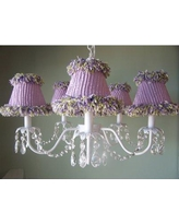 """Silly Bear Lighting Sugar Plum 5 - Light Shaded Classic/Traditional Chandelier Shade: Clementine Cutie, Metal in White, Size 15""""H X 19""""W 