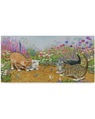 "Trademark Art 'Kittens and Butterflies Garden' Acrylic Painting Print on Wrapped Canvas ALI36503-CGG Size: 16"" H x 32"" W x 2"" D"