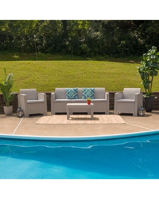 DAD-SF-113T-CRC-GG 4 Piece Outdoor Faux Rattan Chair Sofa and Table Set in Light