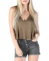 Angie Womens V-Neck Swing Tank with Button Center Front and Open Back