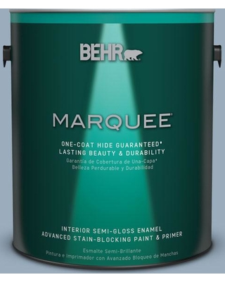 BEHR MARQUEE 1 gal. #S510-3 Ombre Blue One-Coat Hide Semi-Gloss Enamel Interior Paint and Primer in One