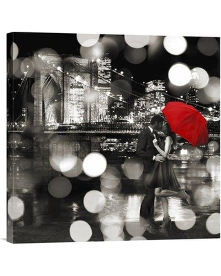 """Global Gallery 'A Kiss in the Night (BW Detail)' by Loumer Photographic Print on Wrapped Canvas GCS-465812- Size: 18"""" x 18"""" x 1.5"""" D"""