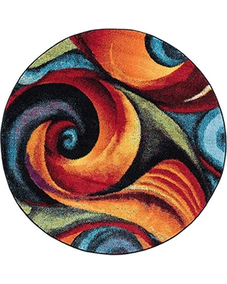 Susan Contemporary Abstract Multi Round Area Rug, 8' Round