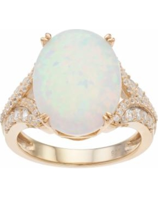 14k Gold Over Silver Lab-Created White Opal & White Sapphire Oval Ring, Women's, Size: 6
