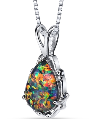 Oravo Sterling Silver 1.00ct Created Black Opal Stala Pendant Necklace (1.00 ct Created Black Opal)