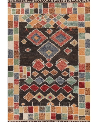 """Geometric Moroccan Oriental Wool Area Rug Hand-knotted Tribal Carpet - 7'8"""" x 10'5"""""""