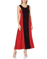 Star Vixen Women's Stripe Colorblock Sleeveless Maxi Dress, Red/Black, Large