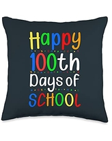 Back To School Apparel.USA Happy 100 Day of School Matching Teacher Kids Student Throw Pillow, 16x16, Multicolor
