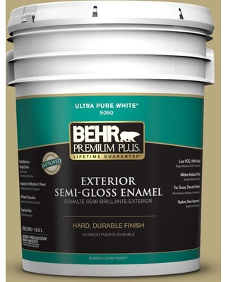 BEHR Premium Plus 5 gal. #M330-5 Fresh Brew Semi-Gloss Enamel Exterior Paint and Primer in One
