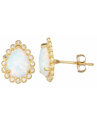 10k Gold Gemstone Teardrop Halo Stud Earrings, Women's, White