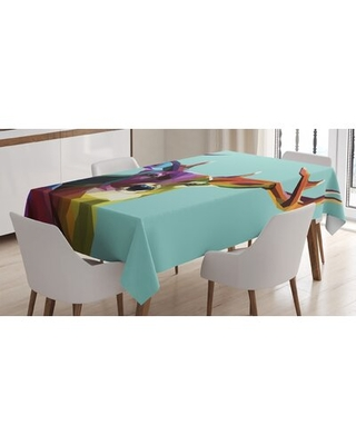 Ambesonne Deer Tablecloth, Modern Illustration Of Low Poly Deer With Triangle Psychedelic Polygonal Style Retro, Rectangular Table Cover For Dining Ro