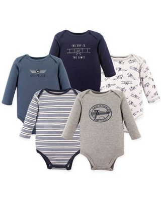 Hudson Baby® Size 9-12M 5-Pack Co-Pilot Long Sleeve Bodysuits