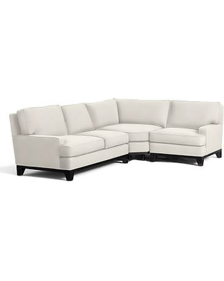 Seabury Upholstered Left Arm 3-Piece Wedge Sectional, Down Blend Wrapped Cushions, Denim Warm White
