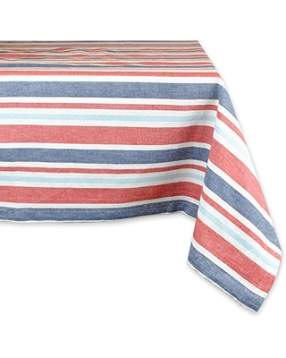 "DII 100% Cotton, Machine Washable, Dinner, Summer & Picnic Tablecloth, 60 x 84"", Patriotic Stripe, Seats 6 to 8 People"
