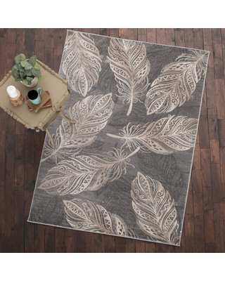 "Mayberry Rug Feather Area Rug Gray (5'3""x7'3"") - 5'3"" x 7'3"" (5'3"" x 7'3"" - Grey)"