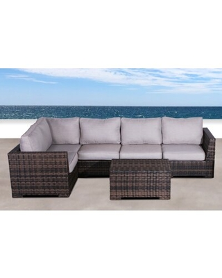 LetonaResort 2 Piece Rattan Sectional Seating Group with Cushions