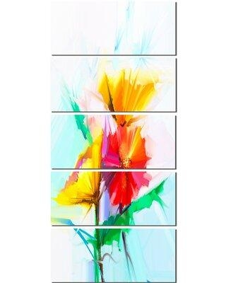 Design Art 'Still Life Yellow Red Gerbera Flower' 5 Piece Painting Print on Wrapped Canvas Set PT15021-401V