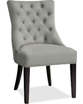 Hayes Tufted Dining Side Chair, Mahogany Frame, Performance Everydaysuede(TM) Metal Gray