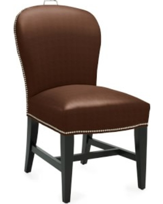 Maxwell Dining Side Chair with Handle, Tuscan Leather, Chocolate, Polished Nickel