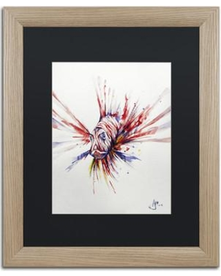 """Trademark Fine Art 'Pterois' Matted Framed Painting Print on Canvas ALI2319-T1 Size: 20"""" H x 16"""" W x 0.5"""" D Matte Color: Black"""