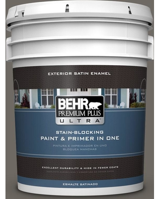 BEHR ULTRA 5 gal. #PPU24-04 Burnished Pewter Satin Enamel Exterior Paint and Primer in One