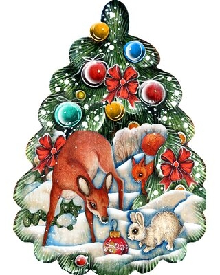 "Decorative Christmas Tree Animals Scenic Holiday Shaped Wood Ornament The Holiday Aisle® Size: 5.5"" H x 3.5"" W x 0.5"" D"