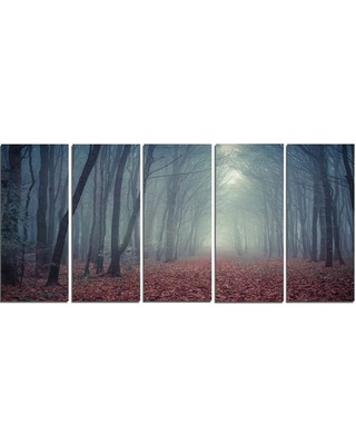 Retro Style Misty Path in Forest 5 Piece Wall Art on Wrapped Canvas Set Design Art